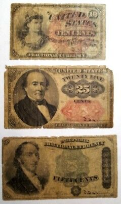 10c 25c 50c, Lot of 3 Fractional Currency 4th & 5th Issues