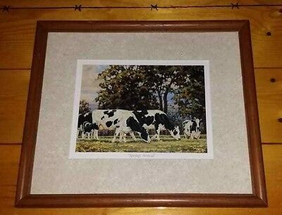"Bonnie Mohr ""Springs Arrival""  13x15 Pro Framed & matted Dairy Farm Cow Holstein"