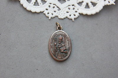 Reversible St Augustine St Monica Holy Medal Vintage Italy Silverplate on Copper