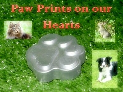 Silver Paw Prints -  Pet Grave Marker for Cats and Dogs, Garden Memorial