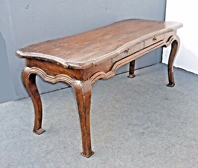 LARGE Oversized Vintage RUSTIC Writing DESK Library TABLE  Spanish Mediterranean
