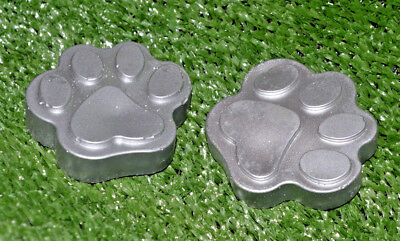 2x Silver Paw Prints -  Pet Grave Marker for Cats and Dogs, Garden Memorial