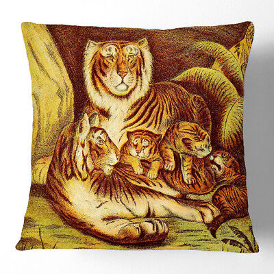 1x Cushion Throw Pillow Soft Home Decor Vintage Tigers at home Animal