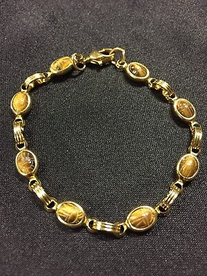 Vintage  Gold Tone Carved Scarab Tiger Eye Bracelet 7.5""