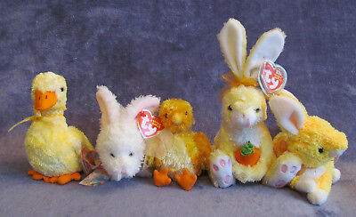 NWT TY Beanie Baby Easter SPRING Lot NIBBLE Nibblies DUCK-e Buttercream CHICKIE