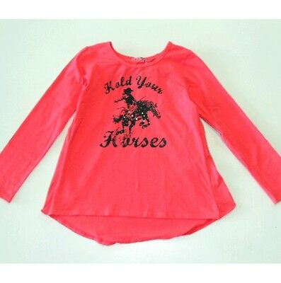NEW Haven Girl Western Nadine Coral HOLD YOUR HORSES Horse Tunic Top Shirt 7