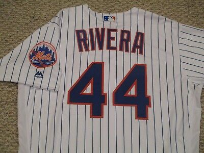 RENE RIVERA sz 48 #44 2017 New York Mets game jersey issue home white MLB HOLO