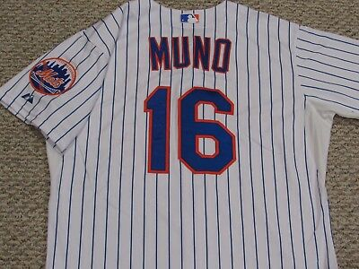 MUNO size 48 #16 2015 New York Mets game used jersey home pinstripe MLB HOLOGRAM