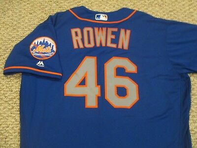 BEN ROWEN size 48 #46 2017 New York Mets game jersey issued road blue MLB HOLO