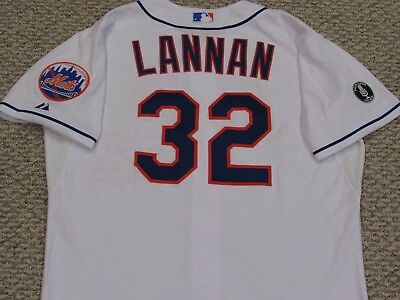 JOHN LANNAN size 48 #32 2014 New York Mets game jersey issue home white MLB HOLO