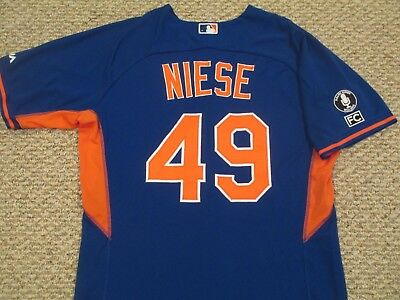 JONATHAN NIESE size 46 #49 2014 GAME USED Mets Jersey BP Blue MLB hologram PATCH