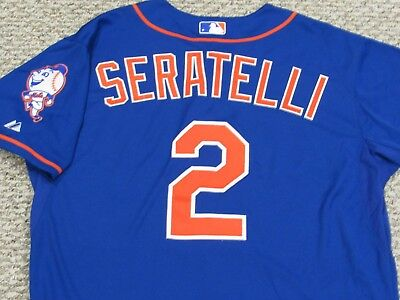 SERATELLI sz 46 #2 2014 New York Mets game jersey issued home blue MLB HOLOGRAM