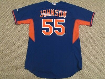 Kelly Johnson size 46 #55 2016 Game Mets Game Jersey Blue pre game MLB hologram
