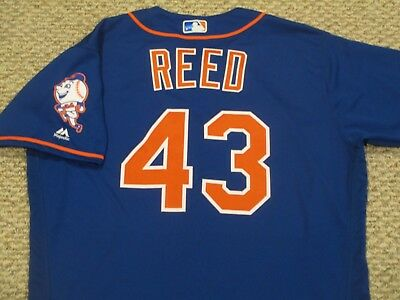 ADDISON REED sz 48 #43 2016 New York Mets game jersey issued home blue MLB HOLO