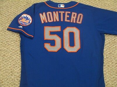 RAFAEL MONTERO sz 46 #50 2017 New York Mets game used jersey road blue MLB HOLO