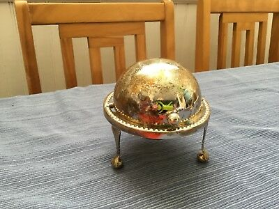 Antique silverplate roll top,footed dish with glass insert, candy/butter dish