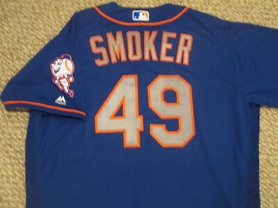 Josh Smoker size 50 #49 2016 New York Mets game jersey issued Road Alt Blue MLB