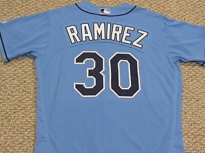 RAMIREZ size 46 #30 2017 Tampa Bay Rays game jersey issued home Columbia Blue