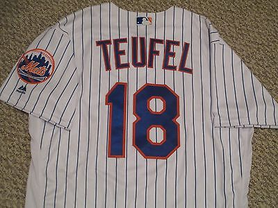Tim Teufel sz 46 #18 2016 New York Mets game jersey Home Pinstripe MLB hologram