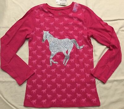NWT Childrens Place Hot Pink Long Sleeve Top W/ Silver Glitter Horse XL 14