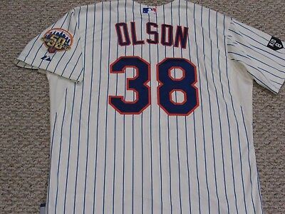 OLSON size 48 #38 2012 Mets game jersey issued Home Cream  MLB HOLO 2 PATCH KID