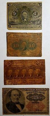 5c 10c & two 25c  Lot of 4 Fractional Currency 1st 2nd & 5th Issues