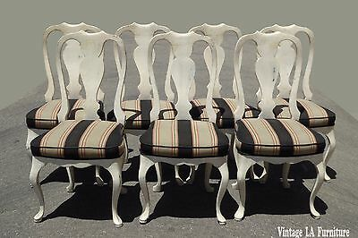 Set Six Vintage Queen Anne Style White Dining Chairs w Striped Fabric +1=Seven