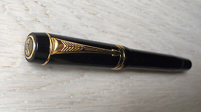 Parker Duofold Rollerball Pen Black with Gold Trim and Duofold Tassie on Cap