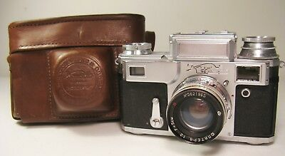 KIEV 4A Russian Camera Lens #5621965 w/ Original Leather Case, Untested. AS IS