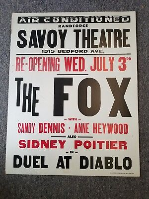 "Randforce Savoy Theater Advertising Poster, 22 x 28, ""The Fox"" and ""Duel at Diab"