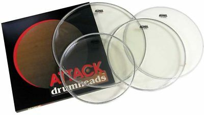 Attack 4pc Drum Head Pack Clear 12,13,16 w/Coated 14""