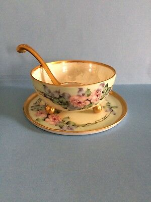 Vintage Nippon Hand Painted Bowl, Plate With Ladle, Spoon, Gold Trim, Flowers,