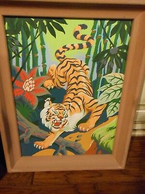 Vintage PBN Mid Century Paint by Number EXTREMELY COLORFUL TIGER IN JUNGLE