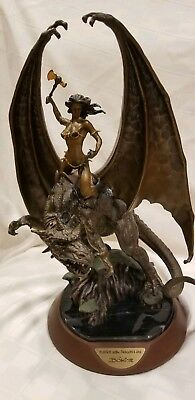 """""""maiden Of The Dragon Axe"""" Dragon Rider By Boris Vallejo The Franklin Mint"""