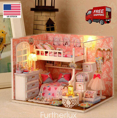 Doll House Miniature DIY Kit Dolls Toy House W/ Furniture LED Handcraft Gift USA