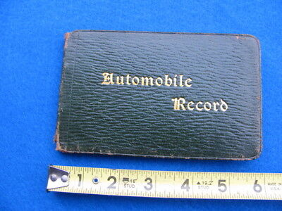 Vintage AUTO RECORD log book, hand written entries from 1912 on