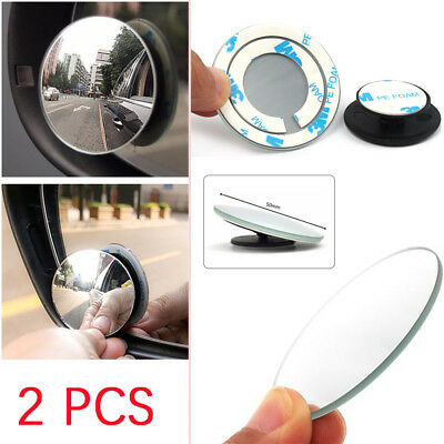 2PCS Blind Spot Mirror Rimless HD Glass Wide Angle 360° Convex Mirrors Rear View