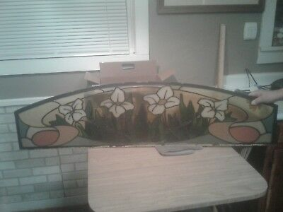 "1970's Vintage Arched Stained Glass Panel With Flowers, 54"" x 14"""