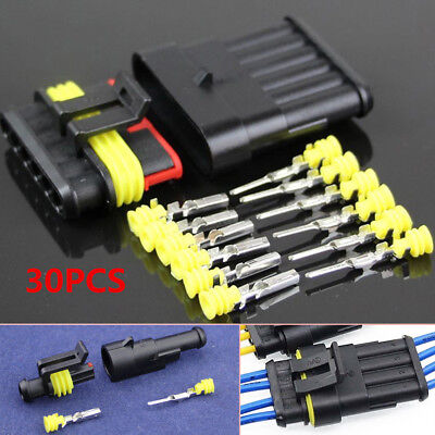 Car Motor 30 Sets 1 2 3 4 5 6 Pin Waterproof Electrical Wire Connector Plug Good