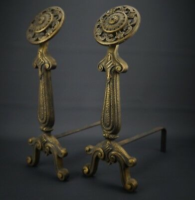"Vintage Solid Cast Brass Decorative Andirons 19"" Tall by 6.5"" Each  Marked #41"