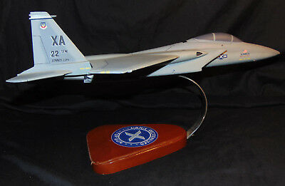 Vintage F-15 U.S. Air Force Pacific Aircraft Wooden Desk Model w/ Base