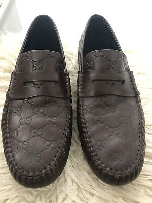 c9af85fcf85 Gucci Mens Leather Brown Authentic Leather Loafers Moccasin Shoes Sz 9.5