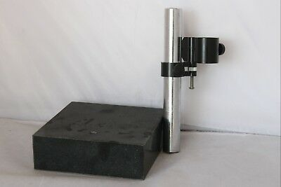 "GRANITE SURFACE PLATE W/ 1"" ROD INDICATOR or CHEMISTRY HOLDER STAND"