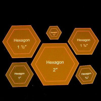 "Acrylic Template ""Hexagon"" for English Paper Piecing Fabric Cutting 1/4"" - 3"""