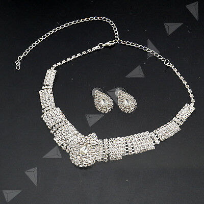 Bridal Diamante Crystal Silver Earring Collar Necklace Set Wedding Jewelry White