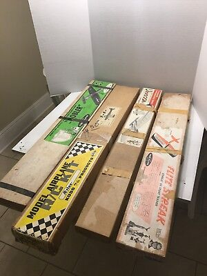 4 VINTAGE RC PLANE KIT SCALE AIRCRAFT WOOD w/BOXES For Parts Only