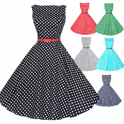 Maggie Tang 50s VTG Polka Dots Housewife Rockabilly Pinup Party Dress R-533