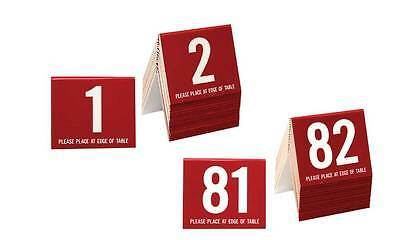 Plastic Table Numbers 1-100, Tent Style, Burgundy w/white number, Free shipping