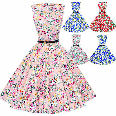 Maggie Tang 50s VTG Floral Housewife Rockabilly Pinup Party Dress R-533