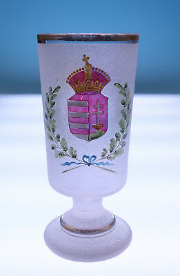 Antique HUNGARIAN Armorial Glass Beaker Coat of Arms Hand Painted Enamel Hungary
